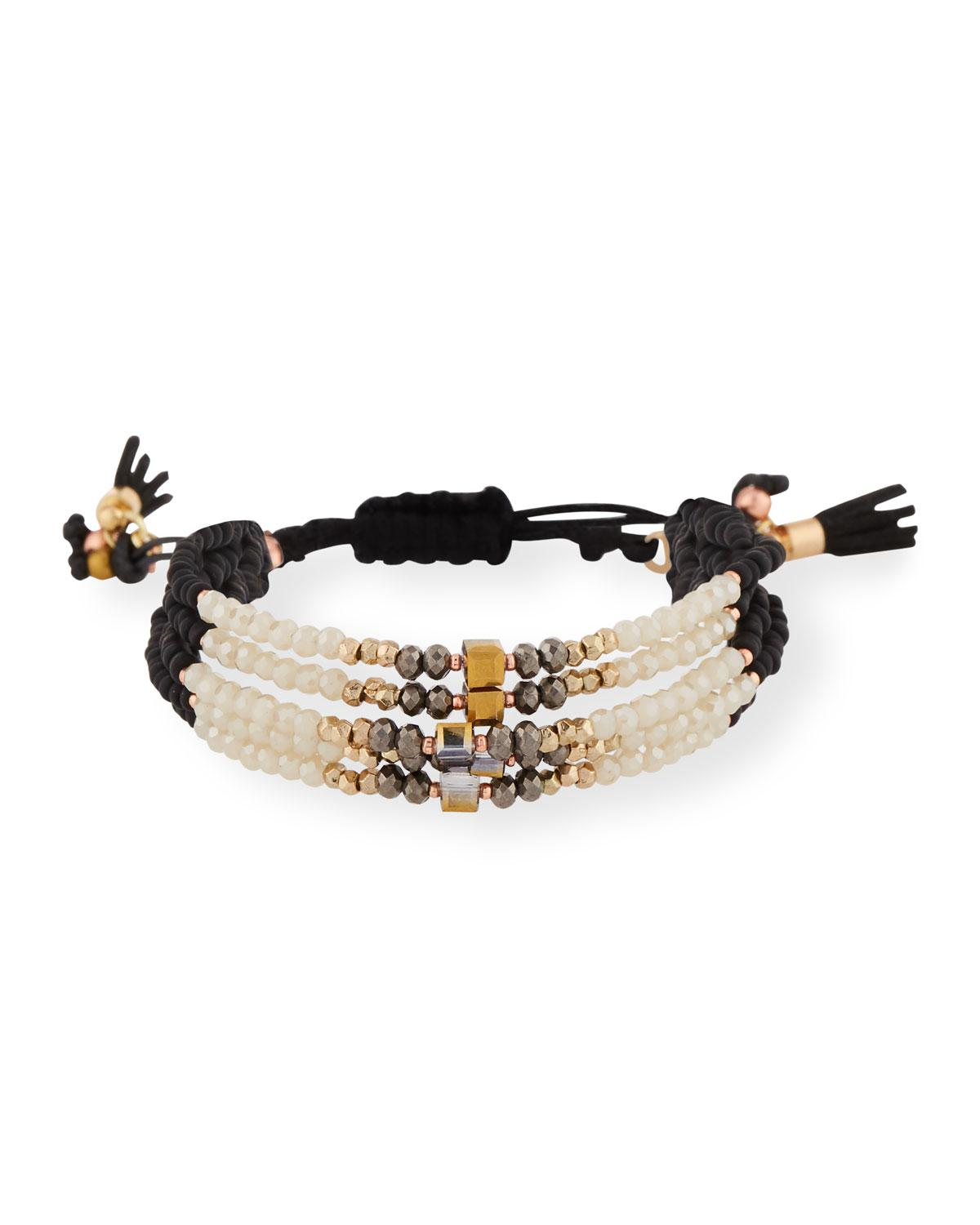 Nakamol Adjustable Beaded Crystal and Leather Bracelet SCR58dfd4
