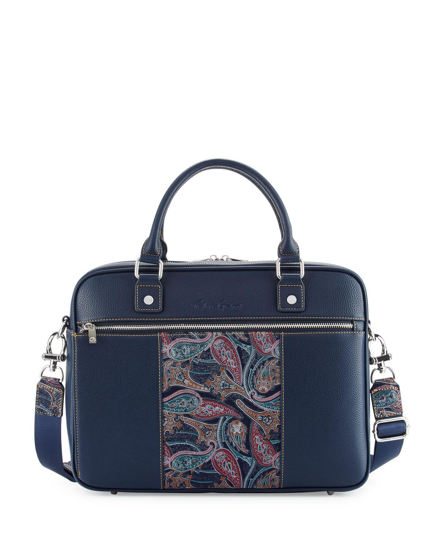 e7e75d33e8a8 Lyst - Robert Graham Vatican Paisley Leather Briefcase in Blue