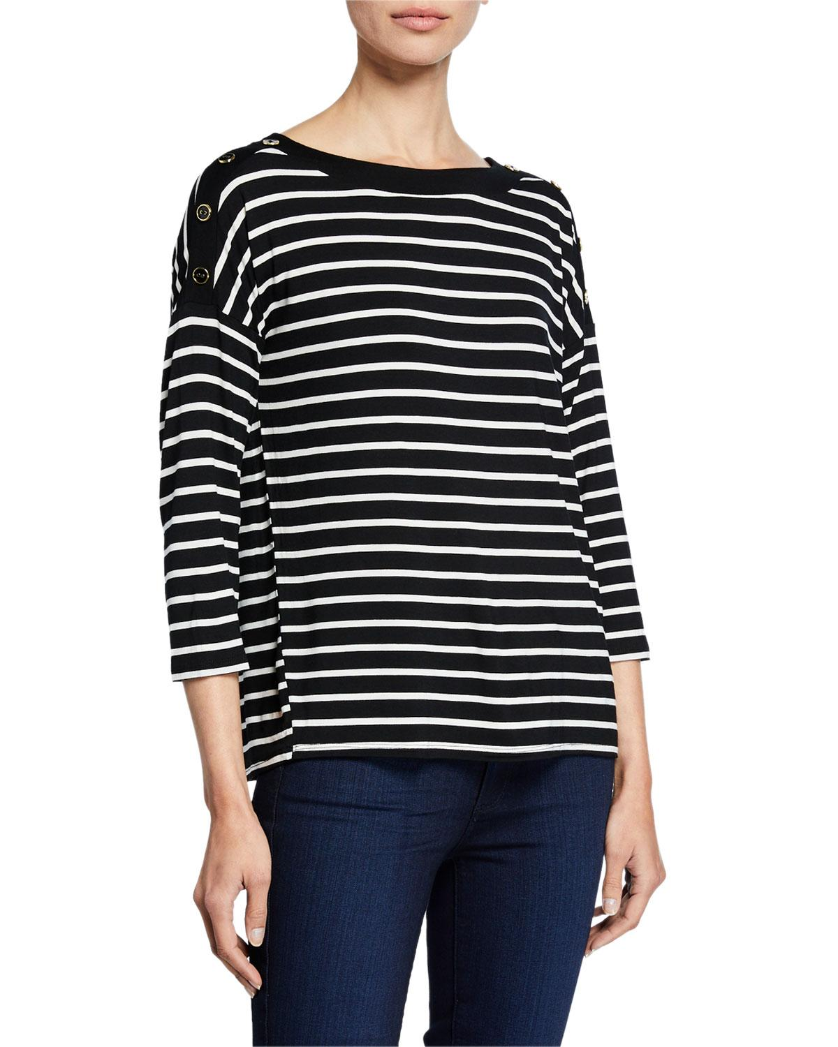 b67d8fa0be98b6 Lyst - Neiman Marcus Stripe Boat-neck Button-shoulder Top in Black
