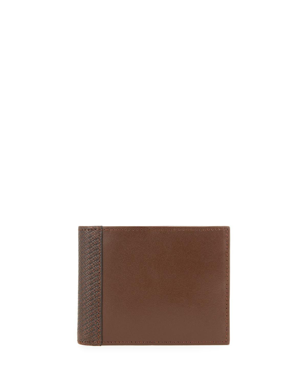 9ed5368bb52b Lyst - Neiman Marcus Men s Leather Bi-fold Passcase Wallet in Black ...