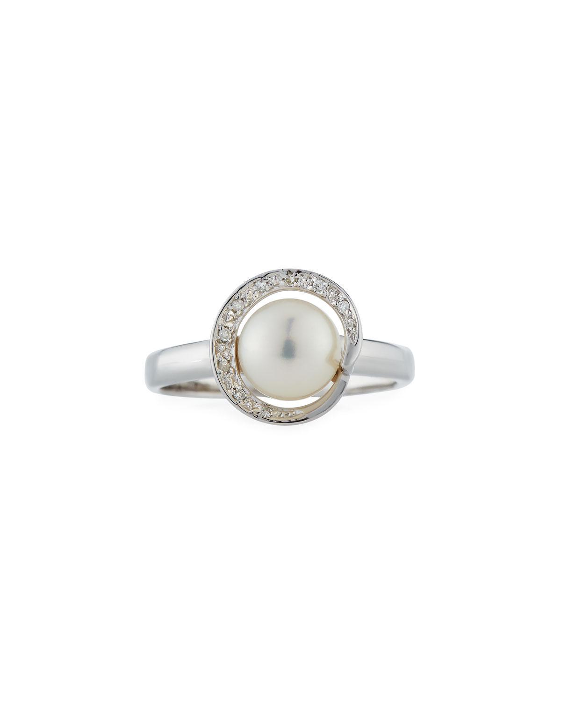 Belpearl 14k Wrapped Diamond & Akoya Pearl Ring, Size 7.5