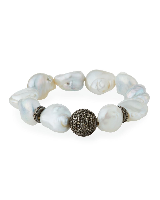Bavna Freshwater Pearl Stretch Bracelet NyllcSy3y
