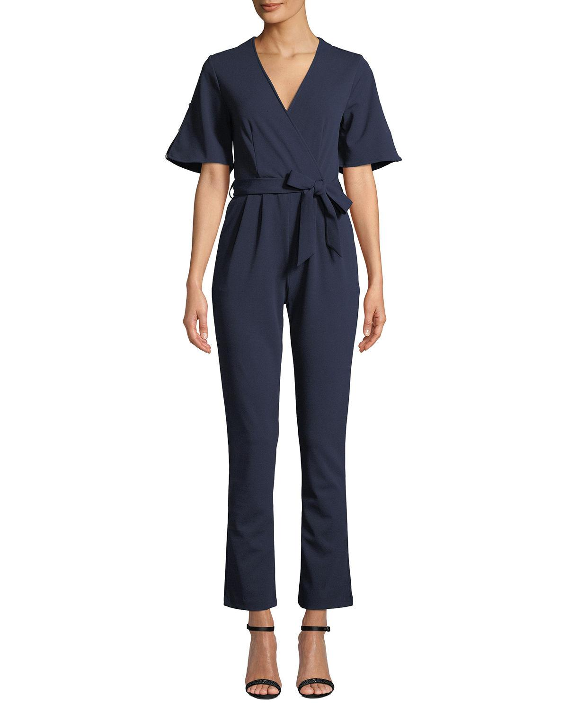 8db4d4c7add7 Lyst - Neiman Marcus Pearly Wide-leg Scuba Crepe Jumpsuit in Blue