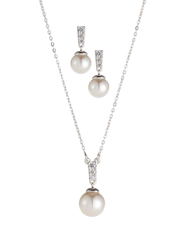 Majorica Women S White Cubic Zirconia Earrings Pendant Necklace Set