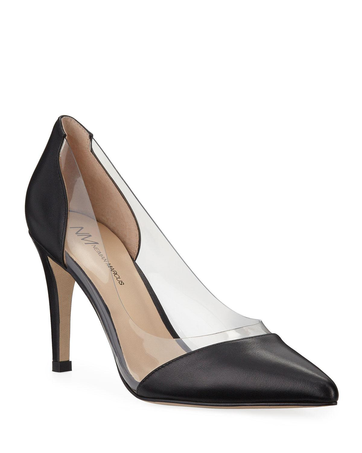 ee05af2db74 Lyst - Neiman Marcus Leather Clear-sided Pumps in Black