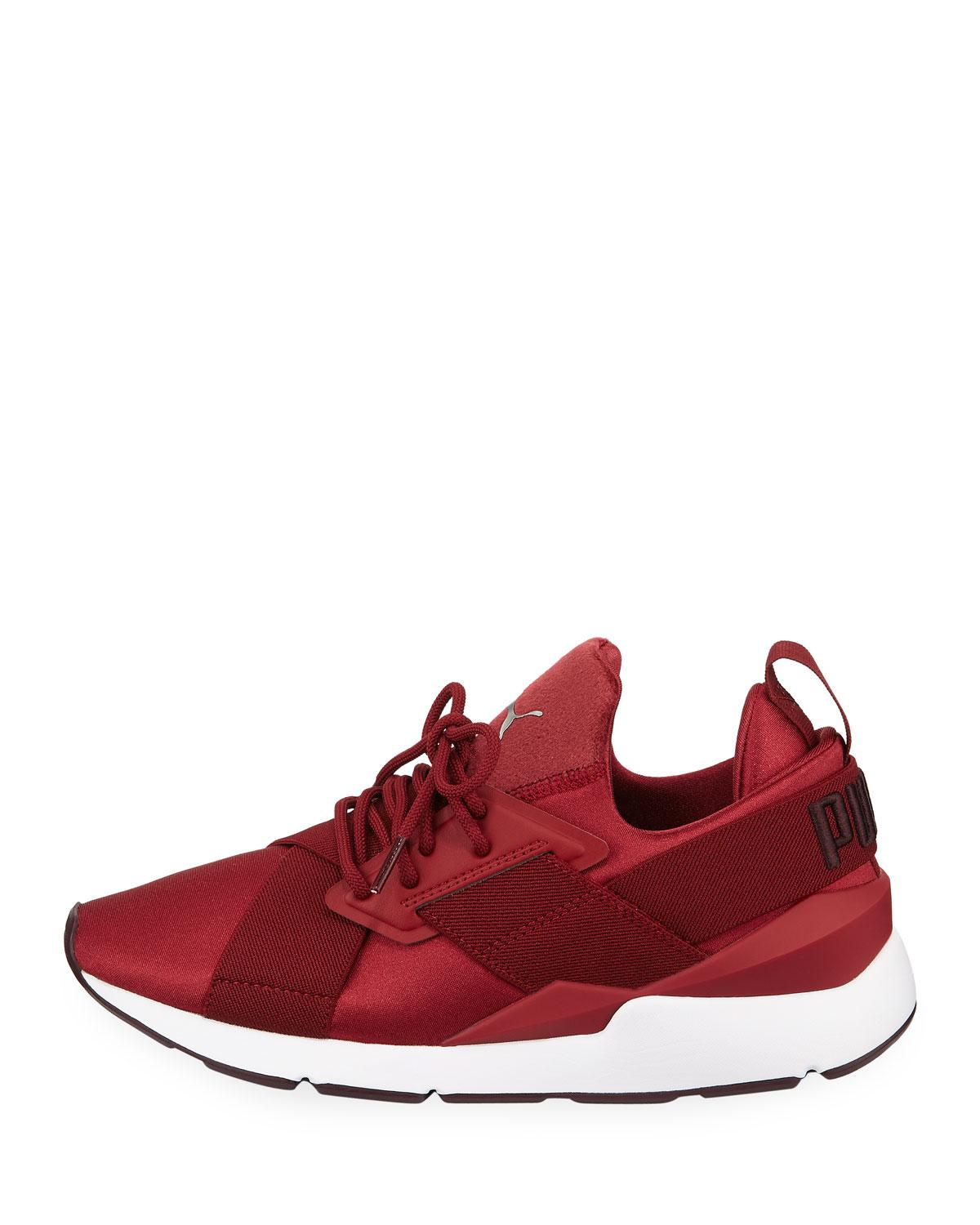 5e8af2fdc971 Lyst - PUMA Muse Satin Ii Lace-up Sneakers in Red - Save 35%