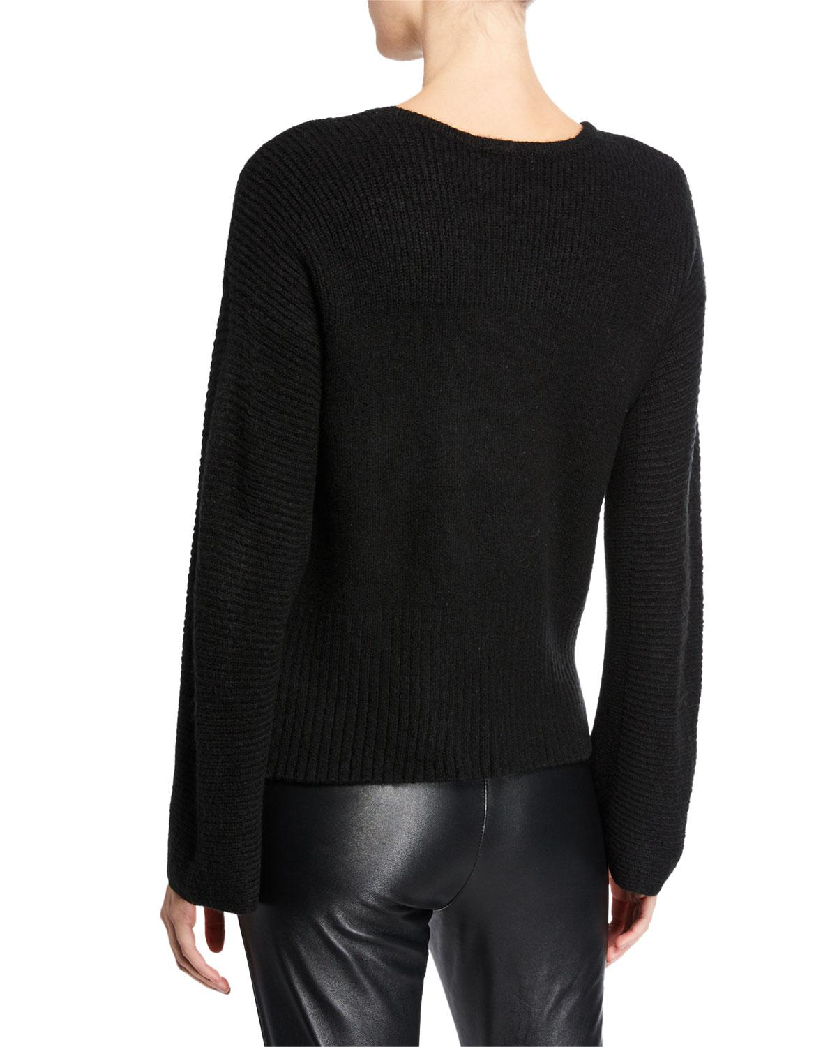 0aaf4d7a7bda Lyst - Neiman Marcus Boat-neck Long-sleeve Sweater W  Pearly Trim in Black