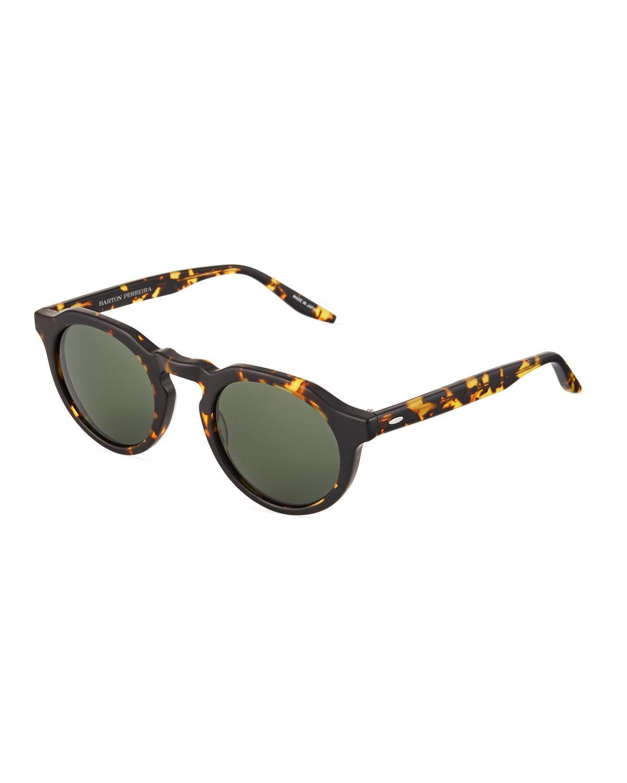 3fb257f0100d Barton Perreira - Green Ascot Round Tortoiseshell Acetate Sunglasses -  Lyst. View fullscreen