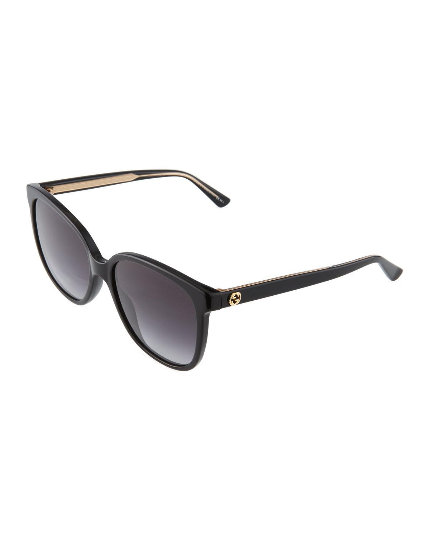 2461ef1cb1515 Lyst - Gucci Square Plastic Sunglasses in Black
