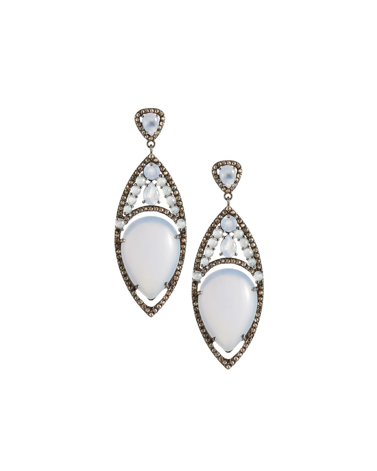 Bavna Chalcedony and Diamond Pointed Oval Drop Earrings