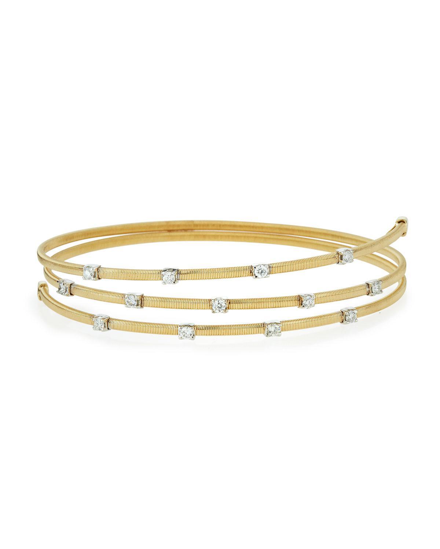 Lyst - Neiman Marcus 14k Yellow Gold Diamond Wire-wrap Bangle ...