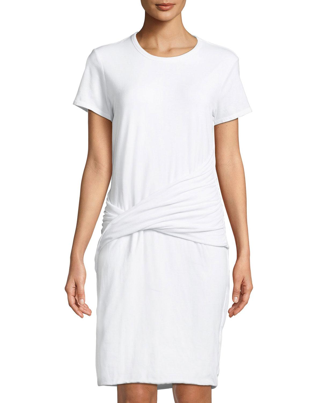 James Perse Woman Twist-front Cotton-blend Jersey Mini Dress Off-white Size 0 James Perse jjojFvK