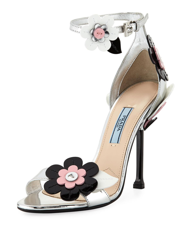 78a7d0af410 ... Lyst - Prada Floral Ankle-wrap 110mm Sandal in Metallic best service  bfdea f8e46 ...