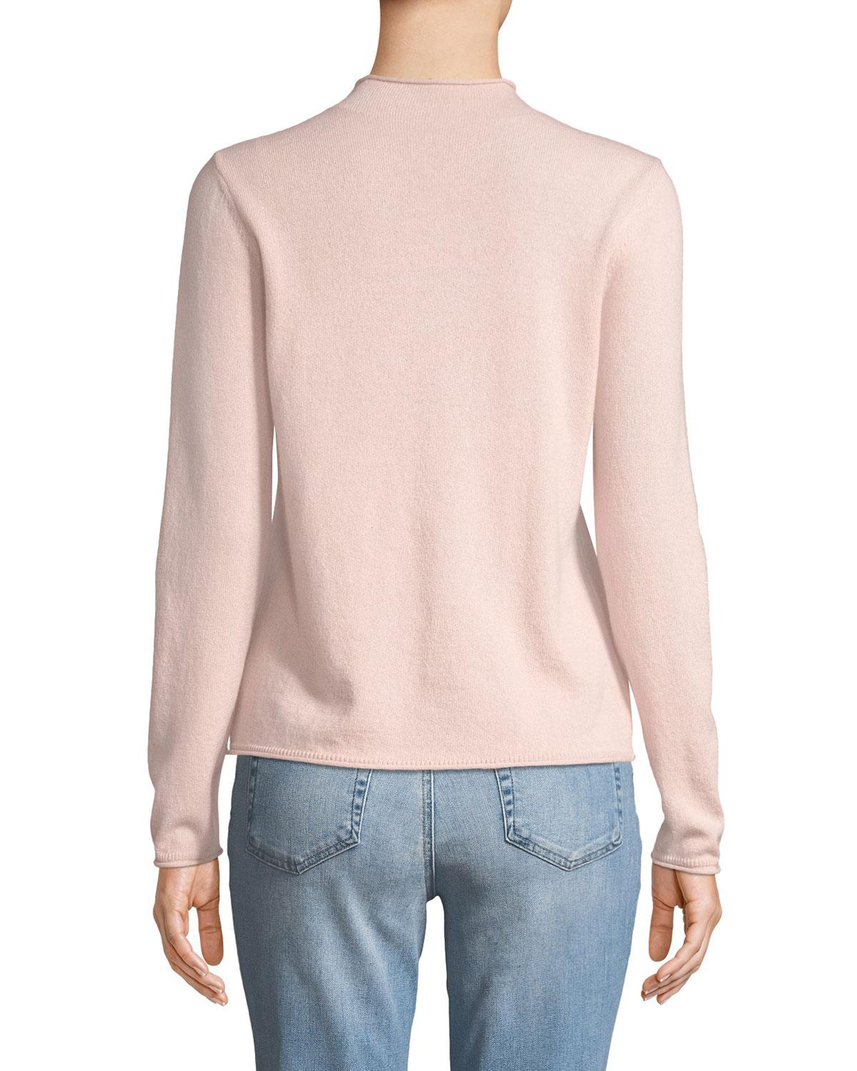 ebed97f6c842 Lyst - Neiman Marcus Cashmere Mock-neck Sweater Pink in Pink