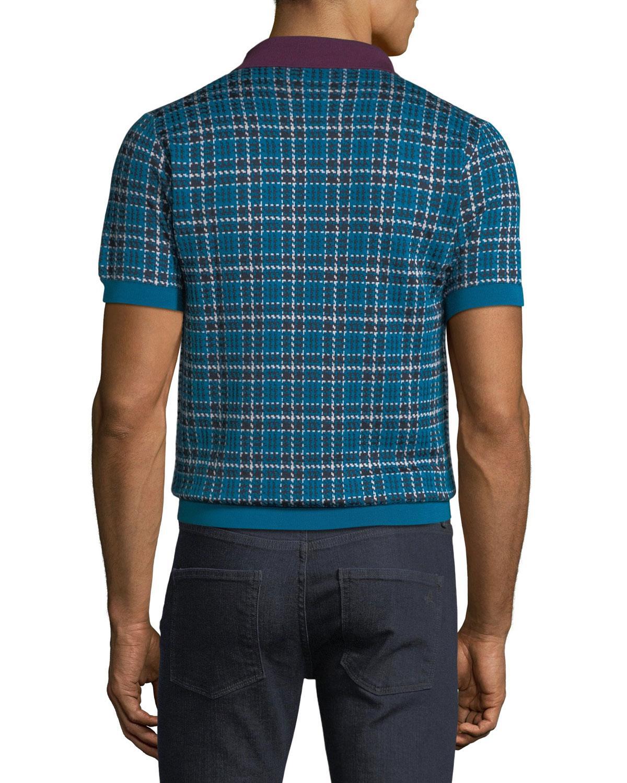 4de750387 Lyst - Brioni Men's Check Wool-silk Polo Shirt in Blue for Men