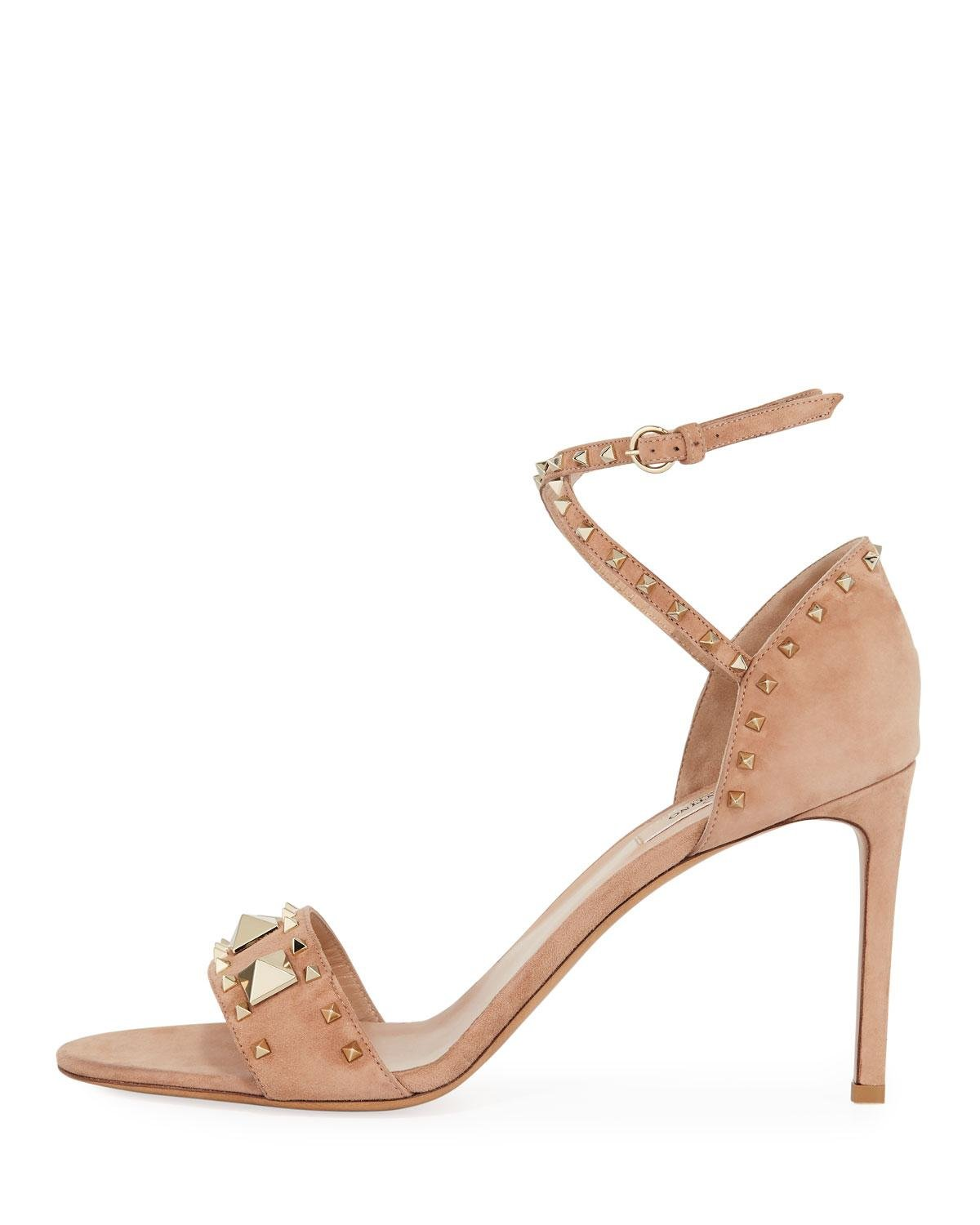 13e0066b26e Lyst - Valentino Rockstud Ankle-wrap Suede Sandals in Natural
