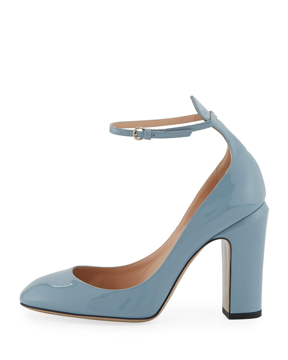 dc989b79419 Lyst - Valentino Patent Leather Ankle-strap Pumps in Blue