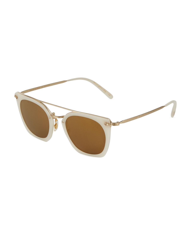 89eec6c238a35 Oliver Peoples. Women s Metallic Dacette Irregular Acetate metal Aviator  Sunglasses
