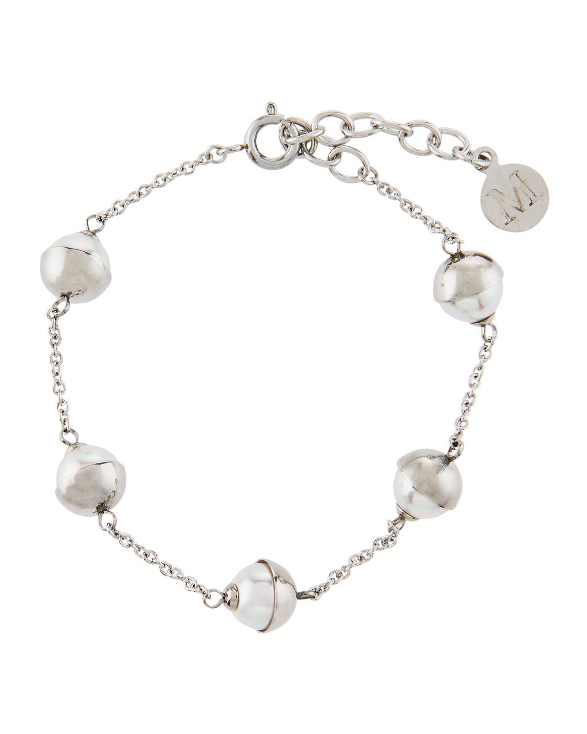 Majorica Beaded 5mm Simulated Pearl & Chain Bracelet, White