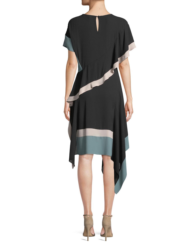 Black Asymmetric Chiffon Dress
