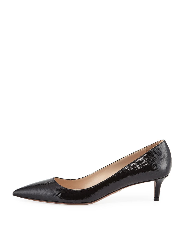 44b3a1d140d Lyst - Prada Patent Saffiano Kitten-heel Pumps in Black