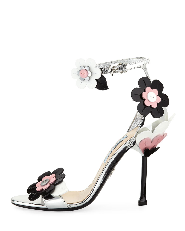 3e236d3c3ad0 Lyst - Prada Floral Ankle-wrap 110mm Sandal in Metallic