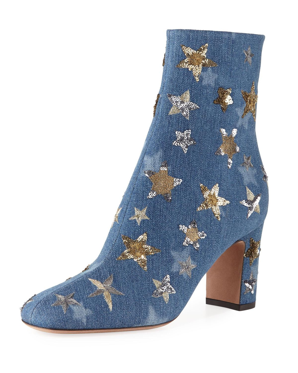 82c305d839d Lyst - Valentino Embellished Denim Star Booties in Blue