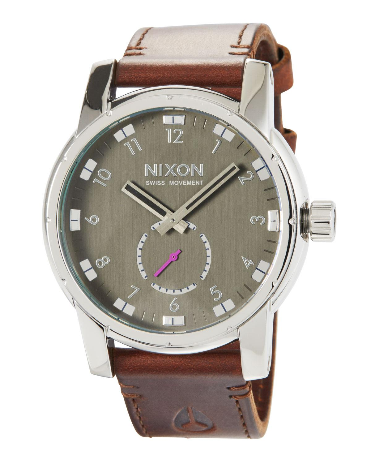 8e1257e54e8 Nixon - Men s 45mm Patriot Leather Watch Brown for Men - Lyst. View  fullscreen