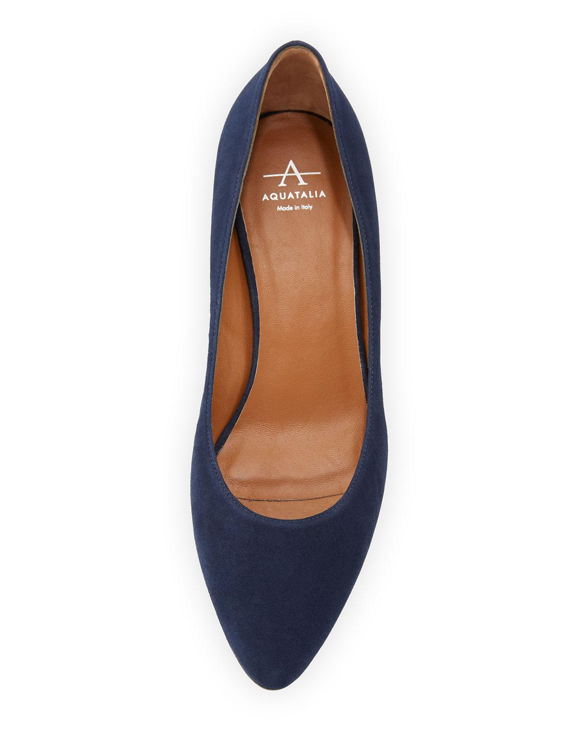 852a8b7bb2ad Lyst - Aquatalia Pheobe Weatherproof Suede Block-heel Pump in Blue