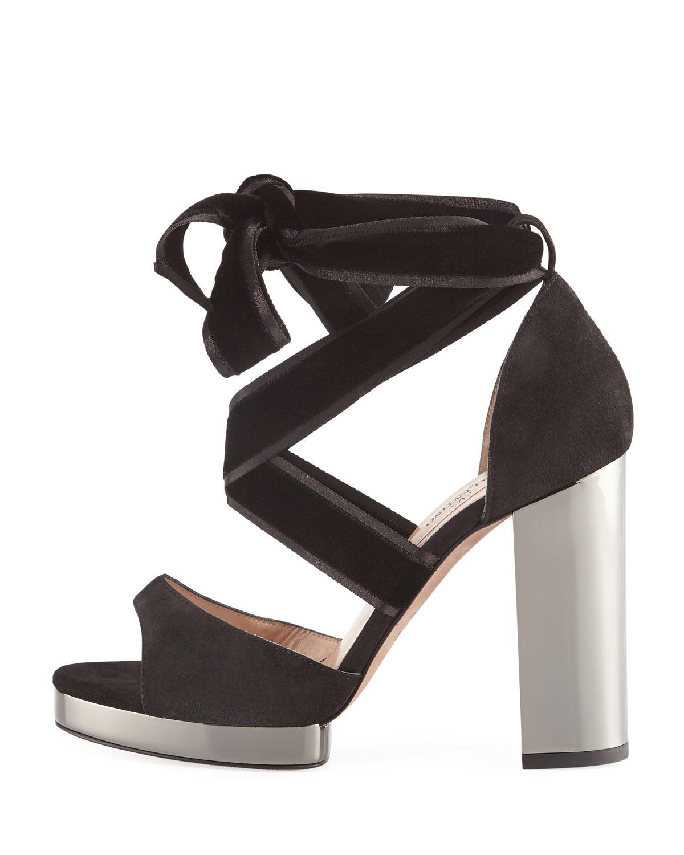 7dd0d1581e12 Lyst - Valentino Velvet Ankle-wrap Sandals in Black