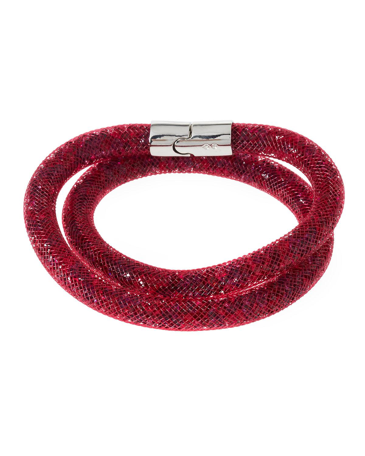 Swarovski Stardust Convertible Crystal Mesh Bracelet/Choker, Bright Red, Medium