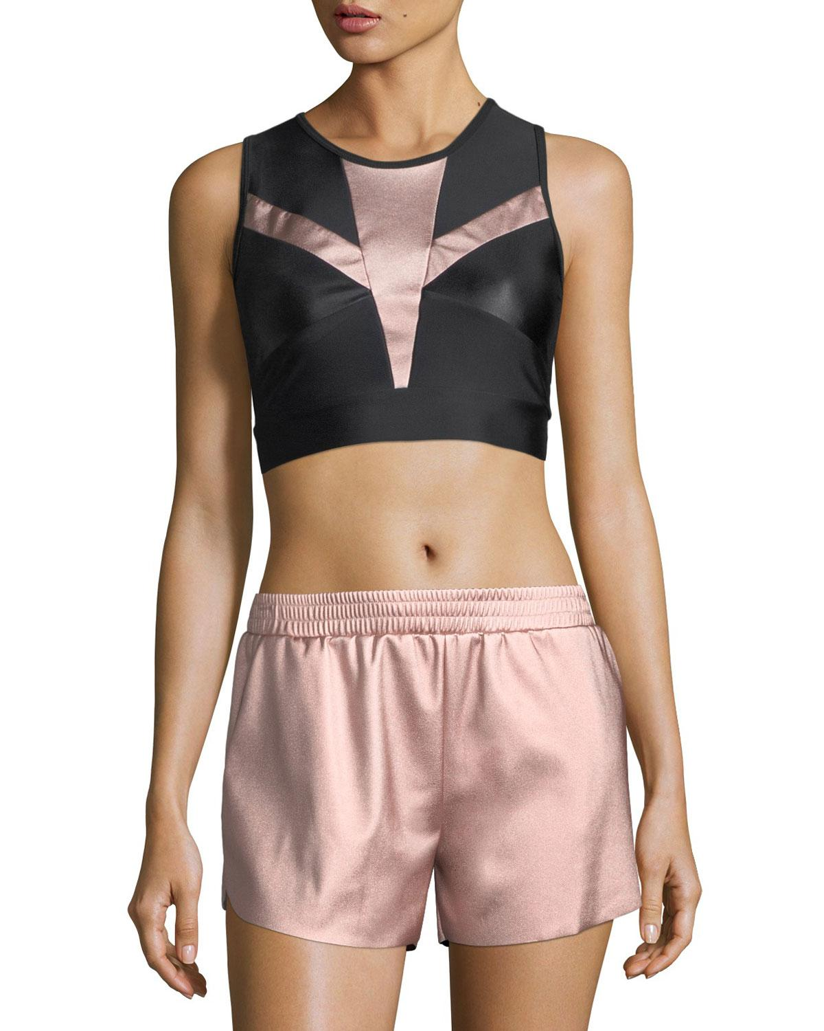 df1b5e3422 Lyst - Lanston Zoe Metallic-block Performance Sports Bra in Pink ...
