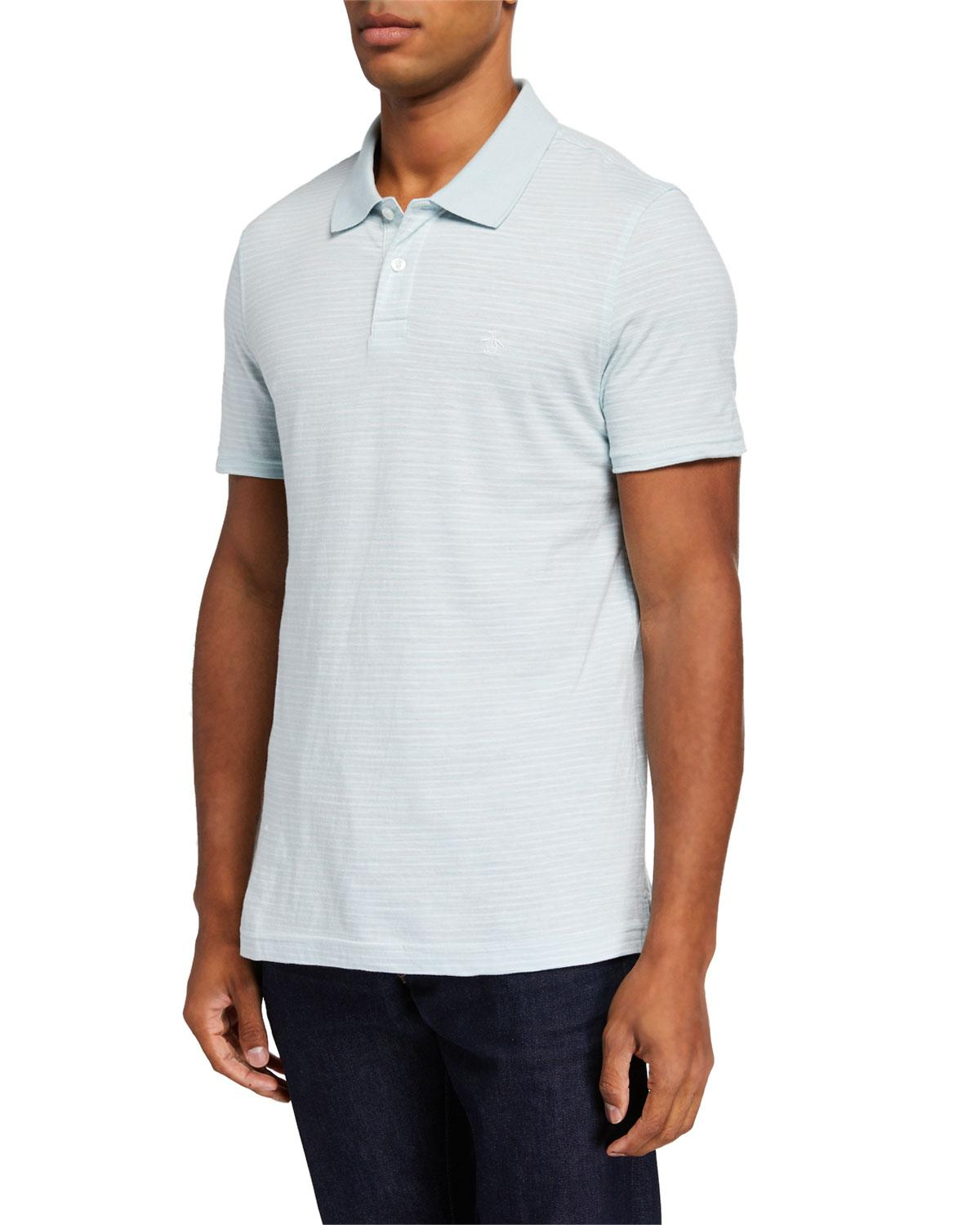 ac9349495 Original Penguin Men s Mini Stripe Slub Polo Shirt in Blue for Men ...
