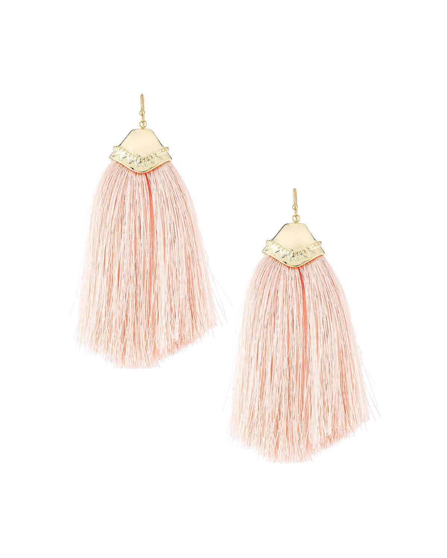 Panacea Crystal Chain Dangle Earrings, Peach
