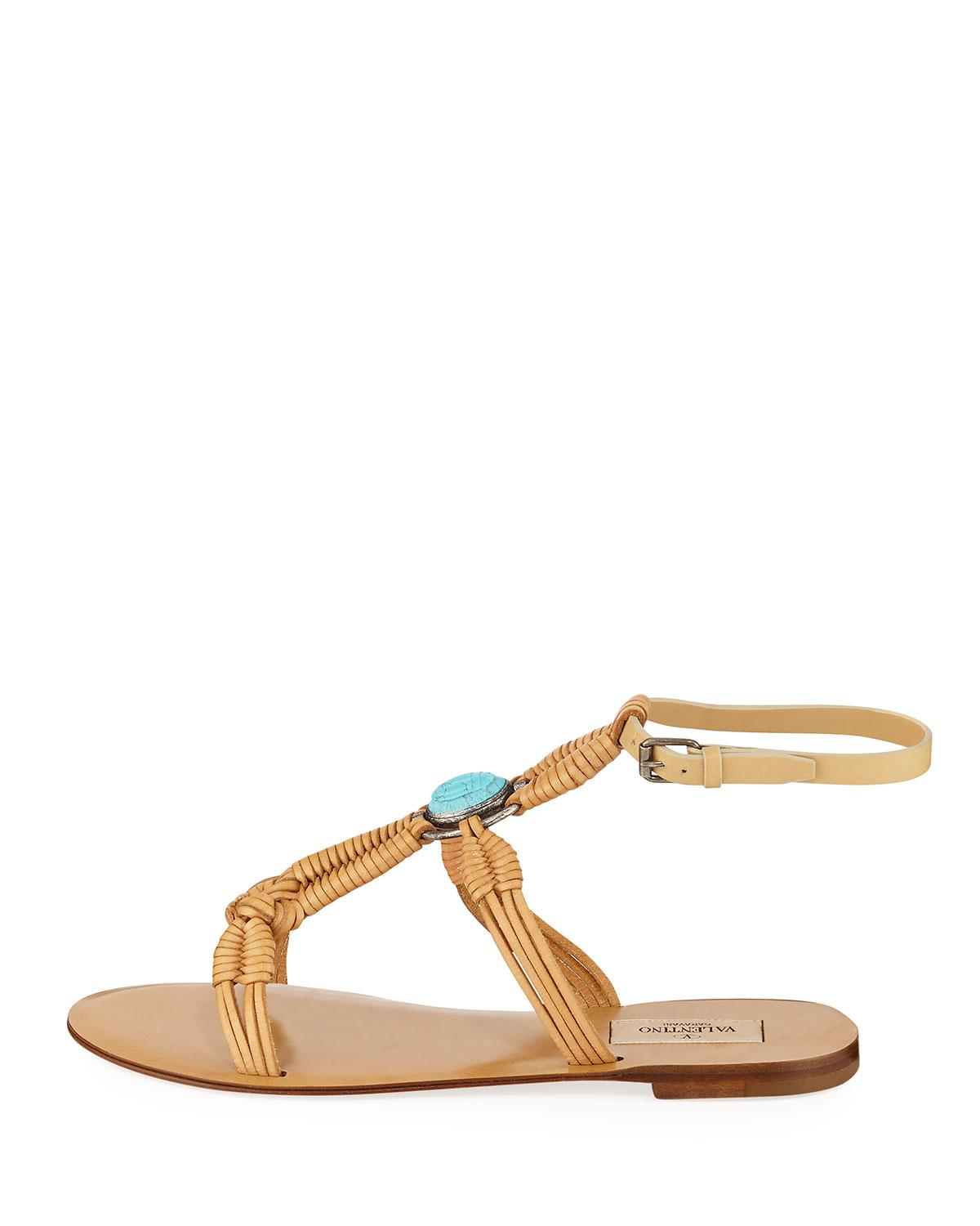 f642f50b1614 Lyst - Valentino Braided Leather Ankle-strap Sandals in Natural