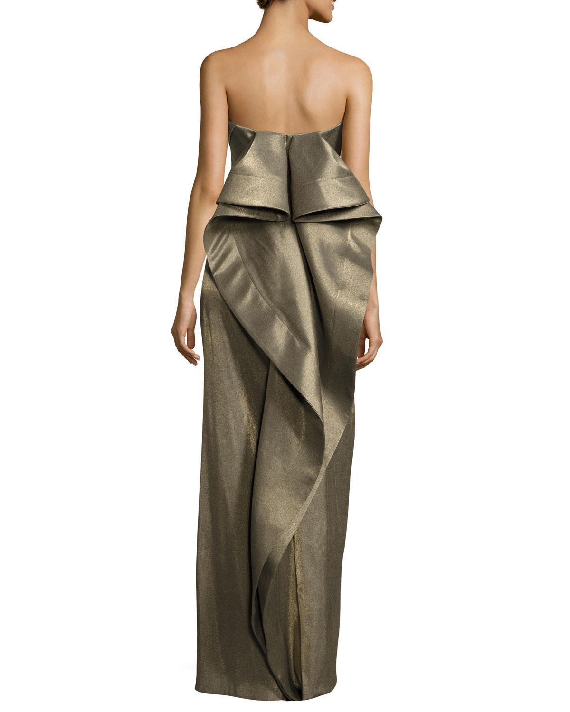 Lyst - Halston heritage Strapless Metallic Evening Gown W/ Back ...