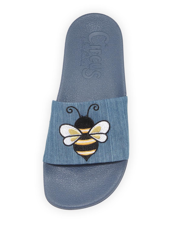 21f7f0abd05b Circus by Sam Edelman - Blue Flynn Denim Pool Slide Sandals With Bee -  Lyst. View fullscreen