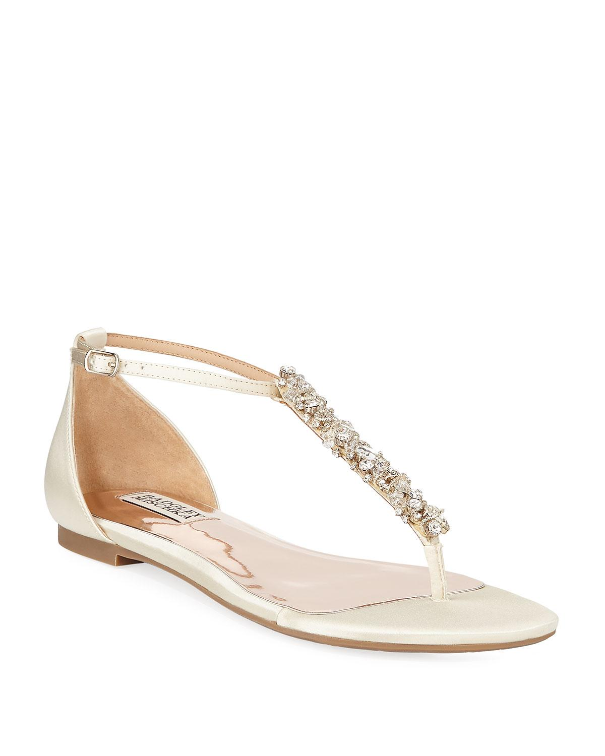 b6505f43caea Lyst - Badgley Mischka Holbrook Embellished T-strap Sandals in White