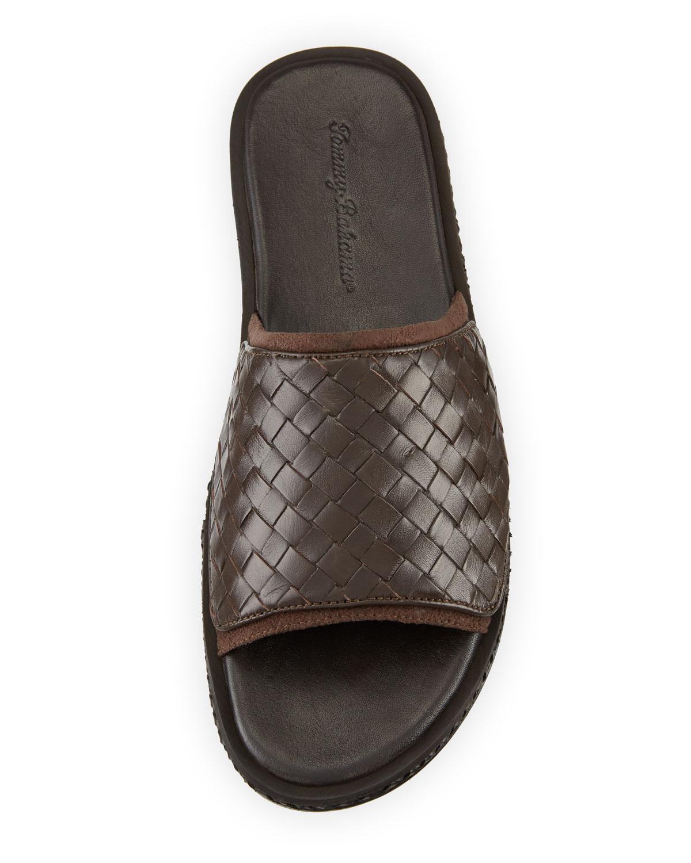 38b71099dc0f89 Lyst - Tommy Bahama Land Crest Leather Slide Sandal in Brown for Men