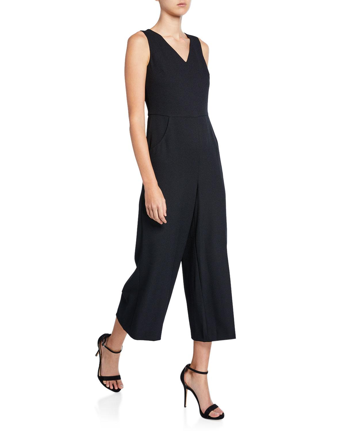662b0fa4a60 Lyst - Karl Lagerfeld Crepe Cropped Wide-leg Jumpsuit in Black