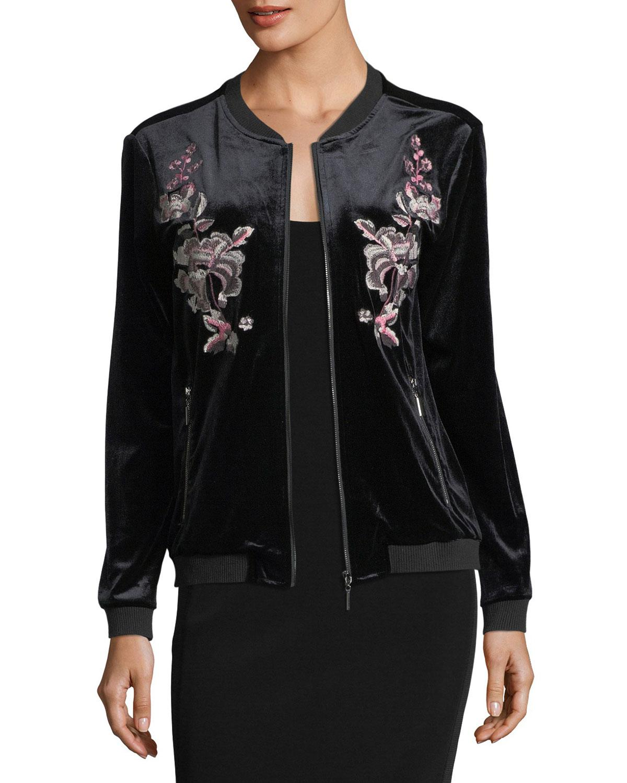 Lyst - Love Scarlett Embroidered Velvet Bomber Jacket In Black