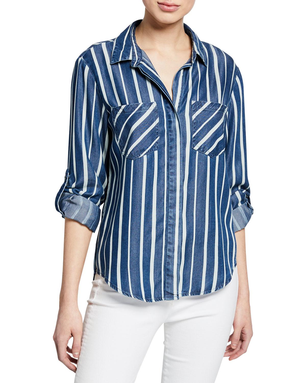 37e2dd0d3a Lyst - Velvet Heart Riley Button-front Striped Chambray Blouse in Blue