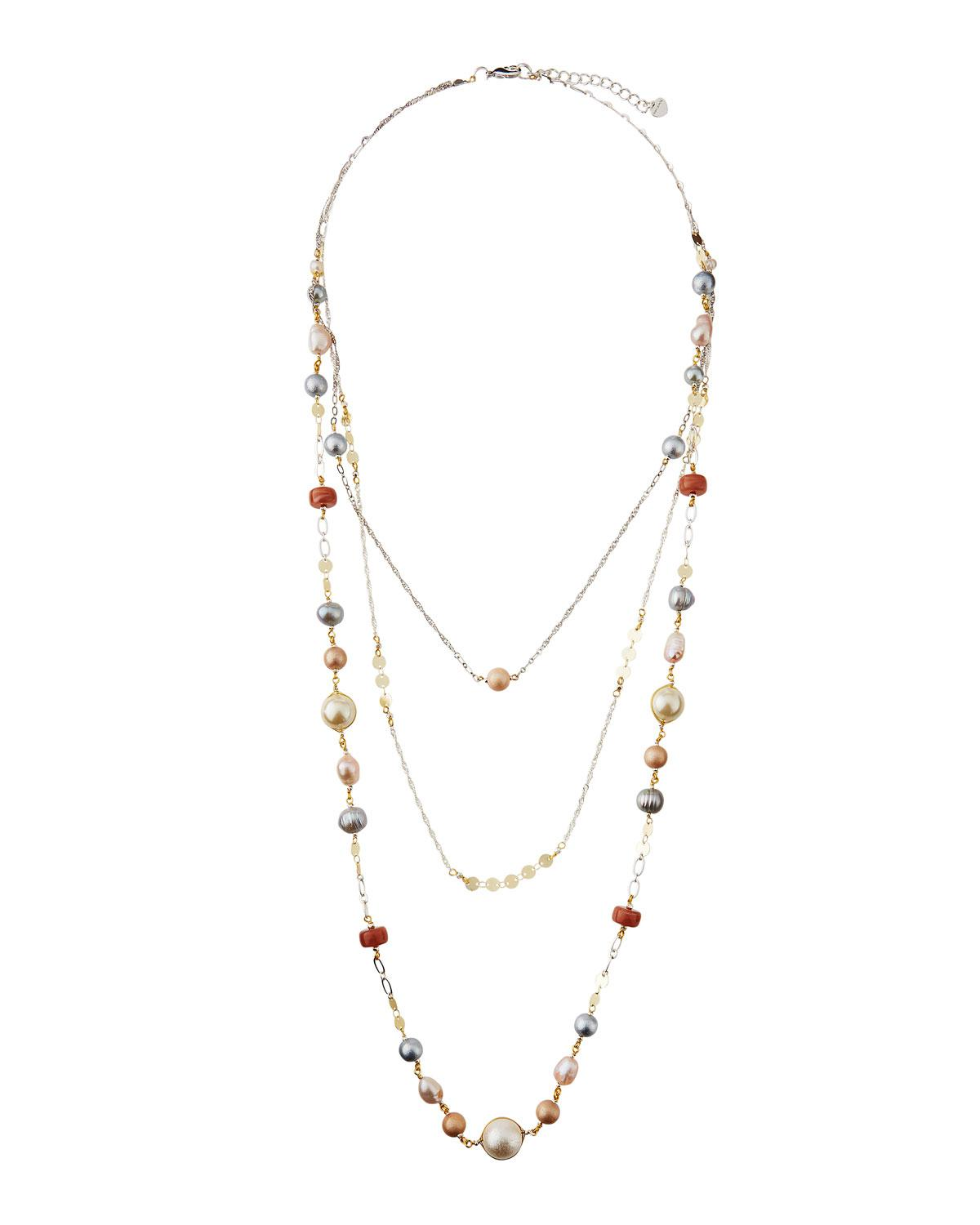 Nakamol Triple-Layered Multicolor Pearl Necklace iW1wk2ccKn