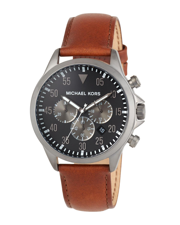 0d3f04f4f078 MICHAEL Michael Kors. Men s Brown 45mm Gage Leather Chronograph Watch Black