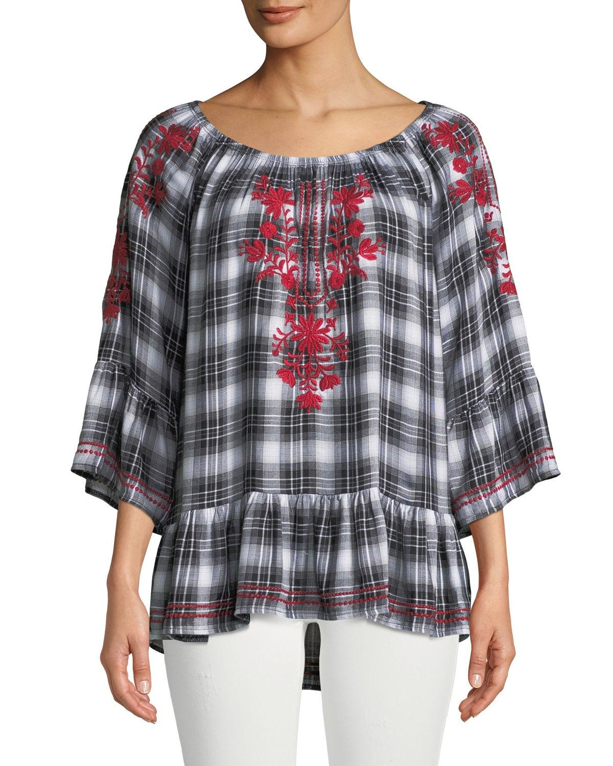ffc6ee8cb3d282 Lyst - Neiman Marcus Embroidered Plaid Peasant Blouse in Black