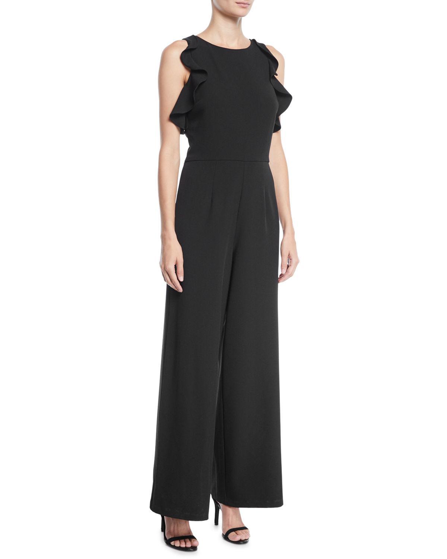 0bea5ef8d52b18 Lyst - Julia Jordan Ruffle-sleeve Crepe Jumpsuit in Black - Save 51%