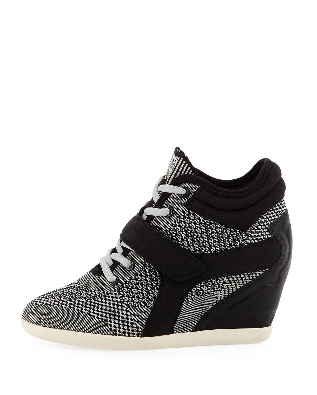 c9fddd2109d8 Lyst - Ash Bebop Knit Lace-up Wedge Sneaker in Black