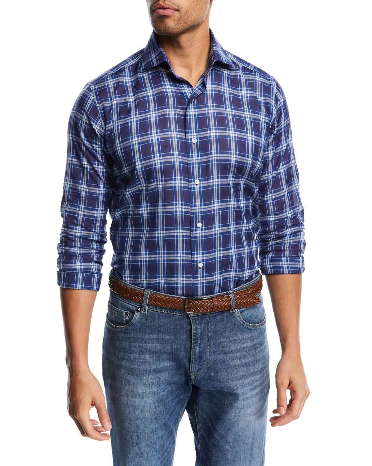 3d20ee8bf32d Lyst - Peter Millar Paradise Plaid Sport Shirt in Blue for Men ...