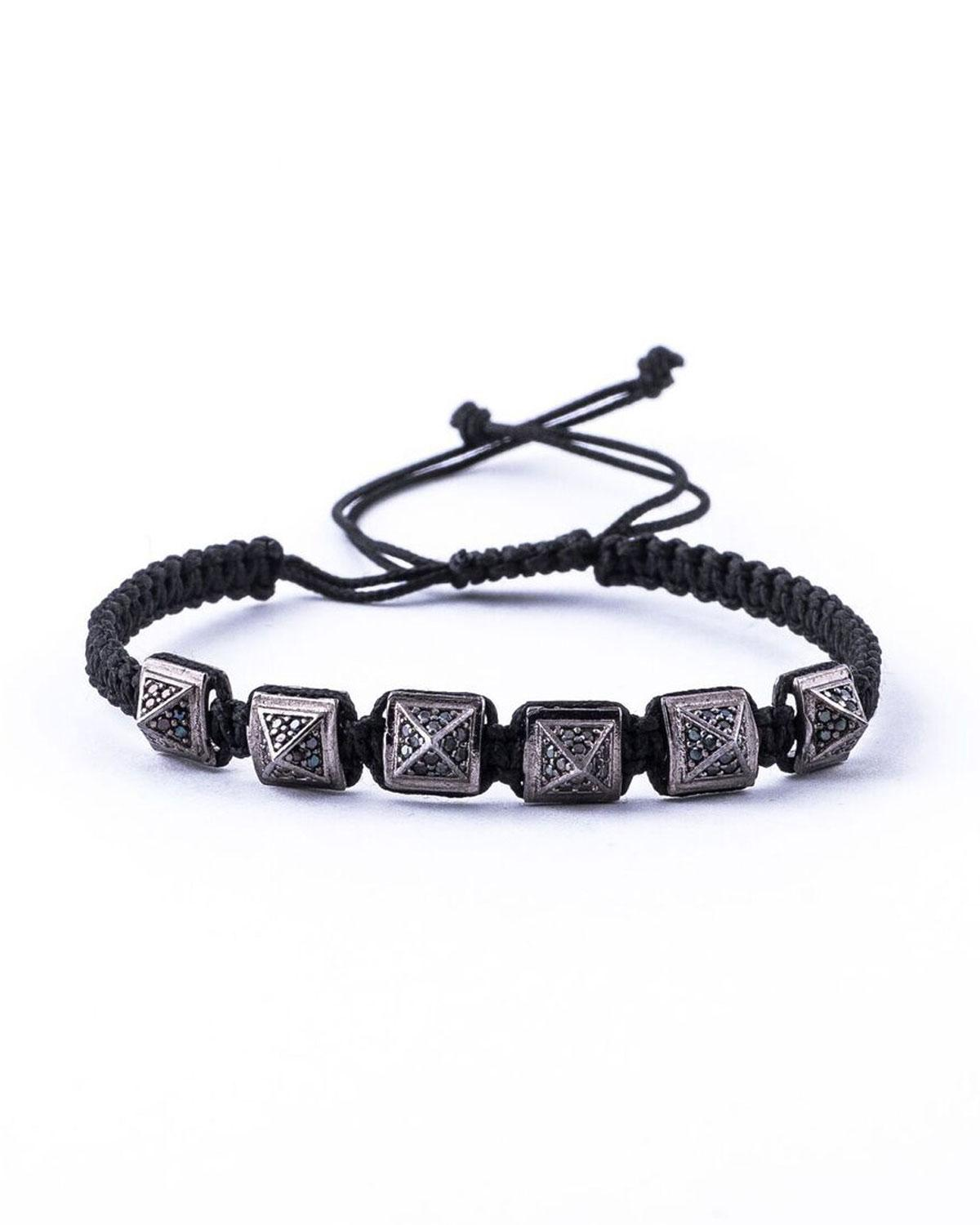 Lyst Jared Lang Mens Pav Crystal Pyramid Cord Bracelet in