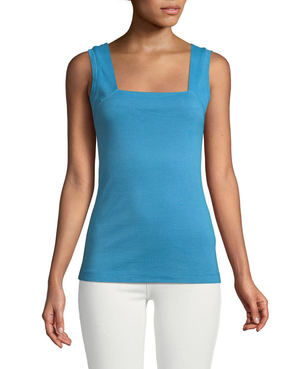 79bcd879ce Lyst - Three Dots Square-neck Tank Top in Blue